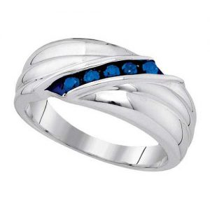 0.33ctw Mens Blue Round Diamond Ring