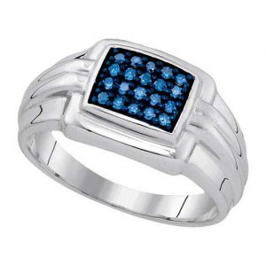 0.25ctw Mens Blue Round Diamond Ring