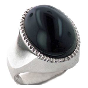 Sterling Silver Natural Cabouchon Onyx Mens Signet Ring