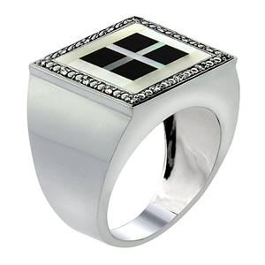 White Gold 4 Square Onyx Ring