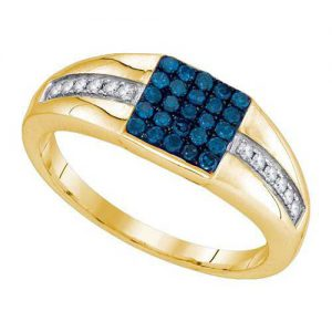 Blue diamond ring wedding band men