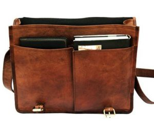 Twin Pocket Leather Messenger Bag