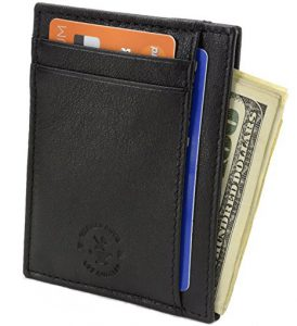 RFID Blocking Minimalist Genuine Leather Slim Front Pocket Wallet